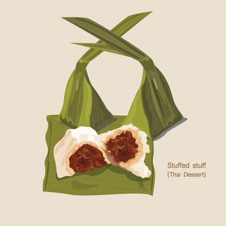 Thai traditional dessert made from coconut milk Çizim