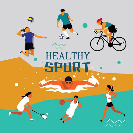 healthy sport vector Çizim