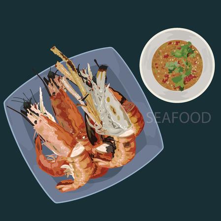 seafood (grilled prawns) illustration vector format