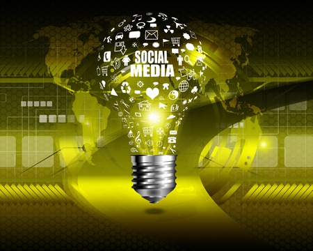 Creative light bulb with social technology  on  abstract background photo