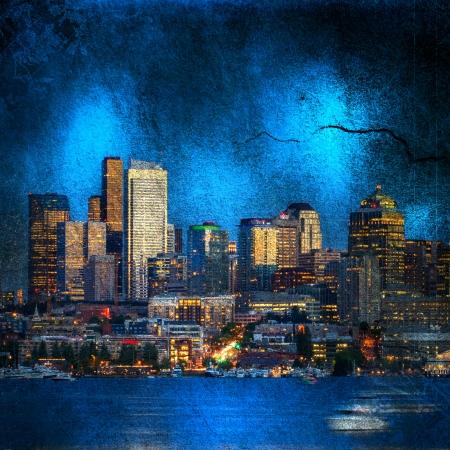 Grunge image of seattle skyline