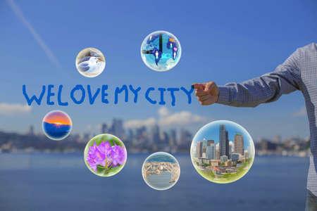 Business men hand write love the city photo