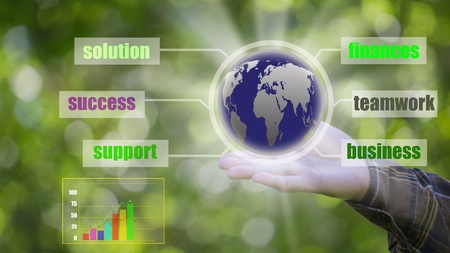 Business Success with our hands  bokeh background photo