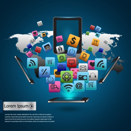 mobile website: Creative tablet computer with mobile phones cloud of colorful application icon