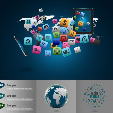 Creative tablet computer with mobile phones cloud of colorful application icon photo
