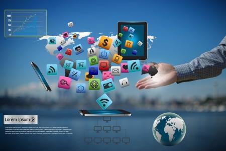 Technologie in de handen van zakenlieden Stockfoto