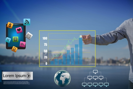 Business man hand pushing write graph