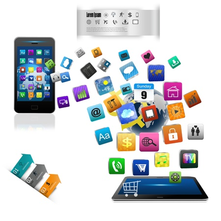 tablet computers and mobile phone isolated on white background Stock Photo - 21056794