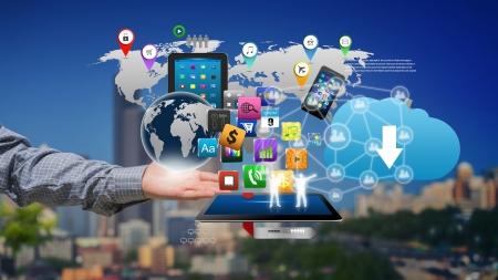 Technologie in de handen van zakenlieden Stockfoto - 21056928