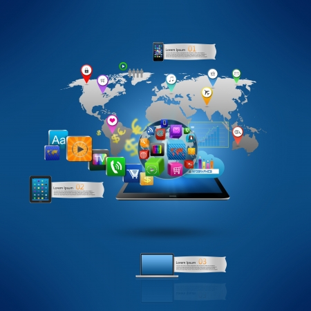 mobile website: Technology business concept, Creative network,with colorful application icon