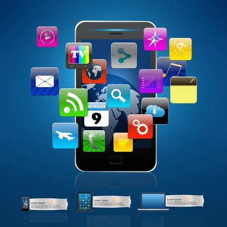 information median: Touchscreen Smart Phone with colorful application icon