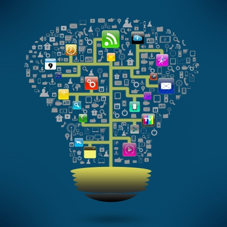 Creative light bulb with social of colorful application icon Stock Photo - 21690406