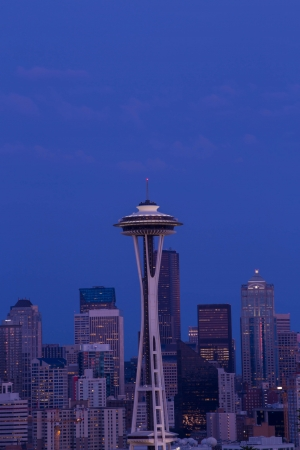 Space Needle tower in Seattle colorful sky photo