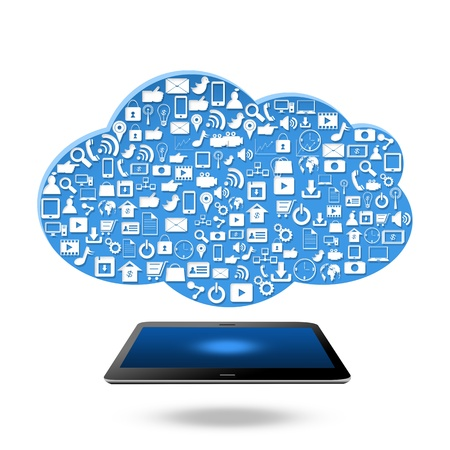 Social media with cloud  computing concept,isolated on white background Stock Photo - 21690422