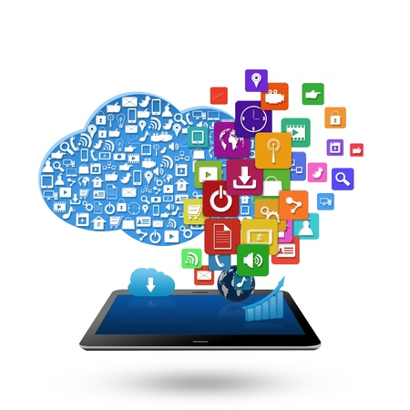 Cloud computing concept, With colorful application icon business Stock Photo - 21690426