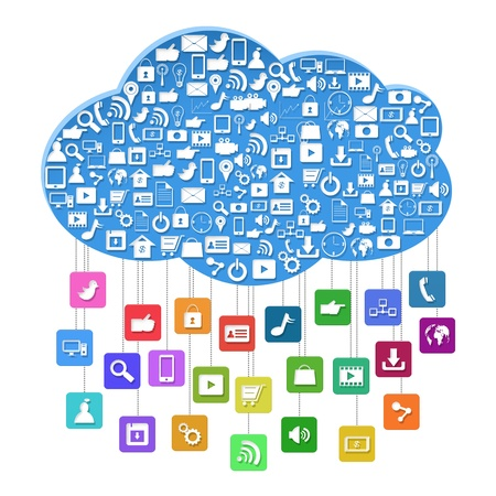 Cloud computing with social concept,Colorful application icon isolated on white background Imagens