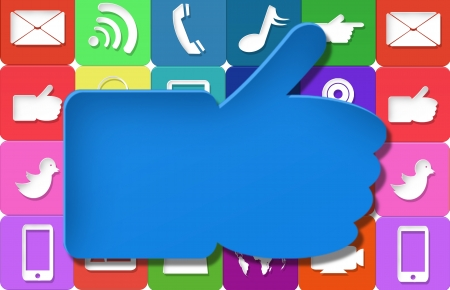 Social media Like symbol with colorful application icon Stock Photo - 21690446