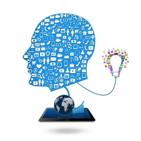 Social media concept idea make in man,colorful application icon Stock Photo - 21690451