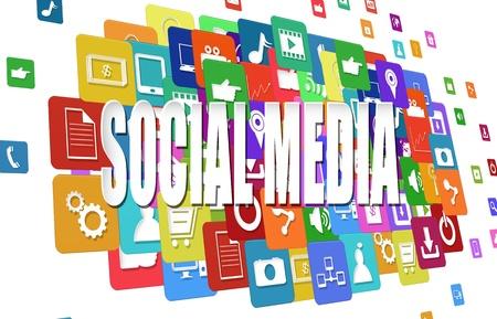 interaccion social: Los medios de comunicaci�n social con la palabra s�mbolo icono de la aplicaci�n de colores Foto de archivo
