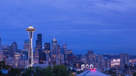 Space Needle tower in Seattle colorful sky,8 27 2013,seattle,washington,USA photo