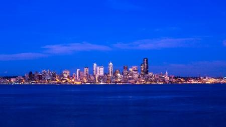 Seattle colorfull sky, Washington as seen from Alki Beach photo