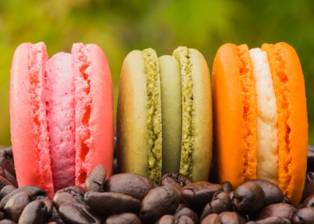 pink with green and orange macaroon on coffee beans photo