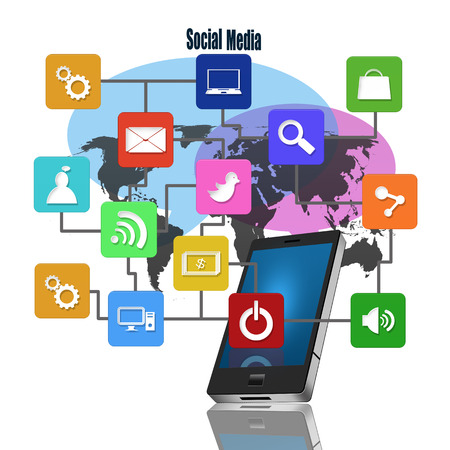 information median: Social media with colorful application icons,on mobile Stock Photo