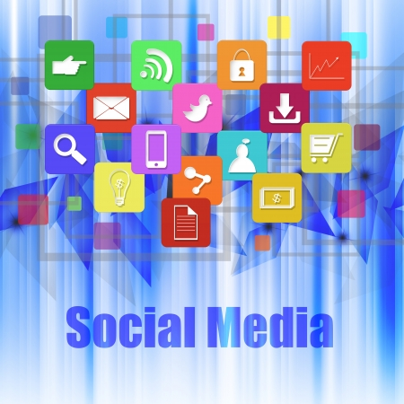 information median: Social media with colorful application icons