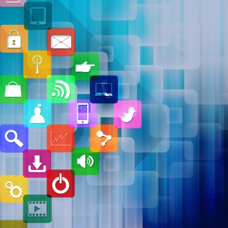 information median: Social media with colorful application icons,on abstract background Stock Photo