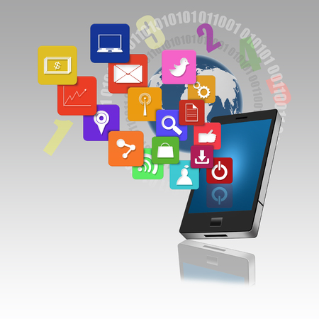 information median: Mobile phone with colorful application icons Stock Photo