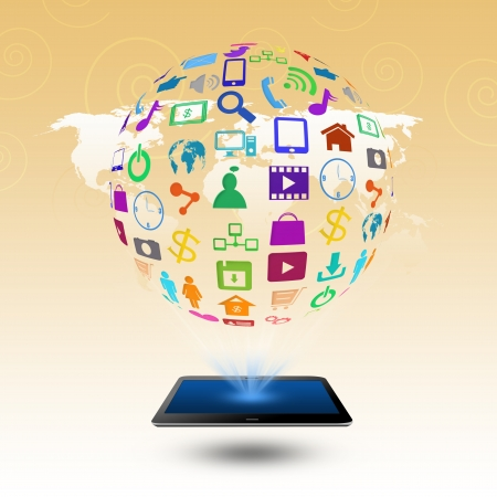 Social media with colorful application icons,on tablet photo