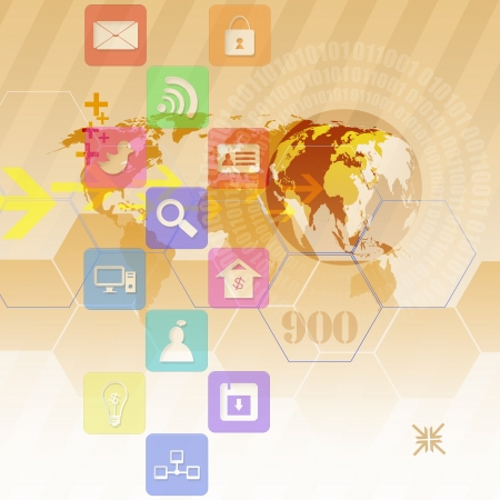 information median: Colorful application icons,on abstract background Stock Photo