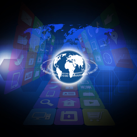 information median: Colorful application with technology concepts on the world