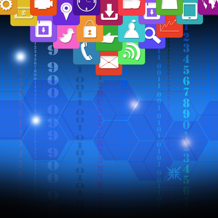 information median: Colorful application icons,on technology concept background