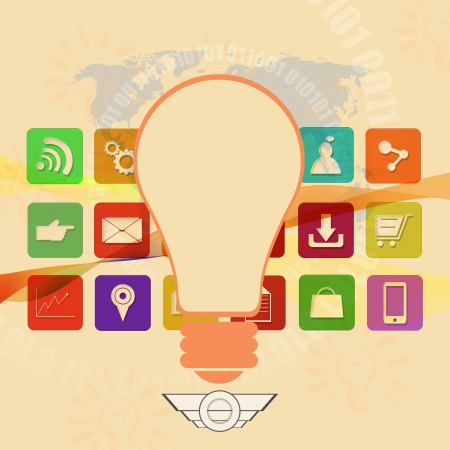 information median:  light bulb with colorful application icons,on abstract background