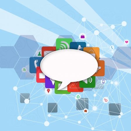 information median: speech bubble on colorful application icon , abstract background Stock Photo