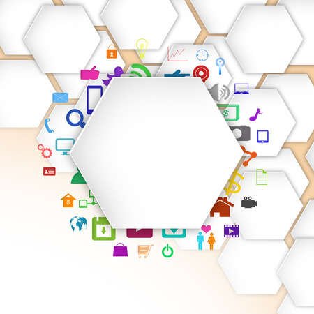 information median: geometric shape with colorful application icon , abstract background Stock Photo