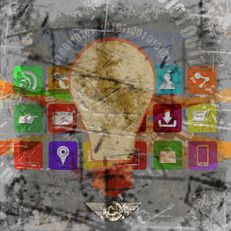 information median:  light bulb with application icons,on grunge background