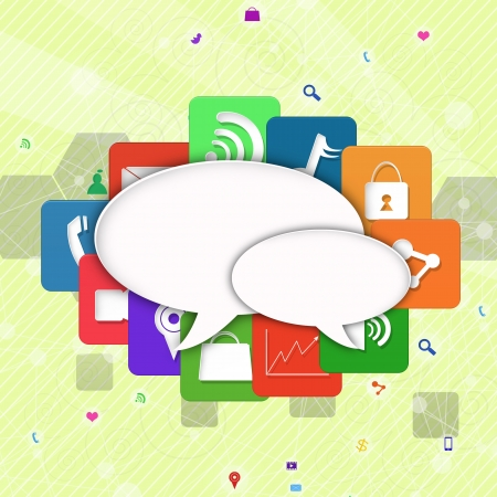 information median: speech bubble with colorful application icon  Stock Photo
