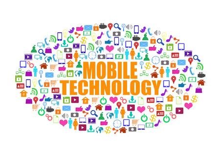 Mobile technology word with social media,colorful application icon Stok Fotoğraf