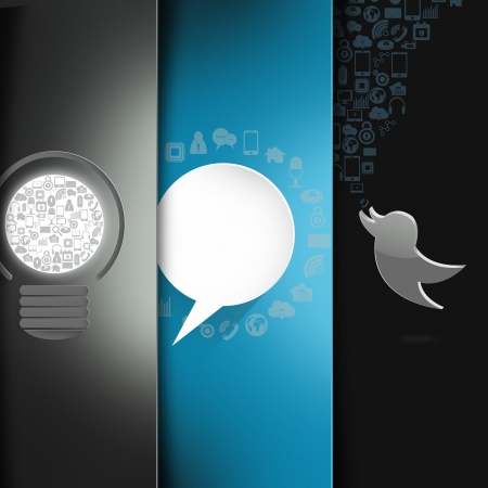 Social media light bulb whit bird on  abstract background photo