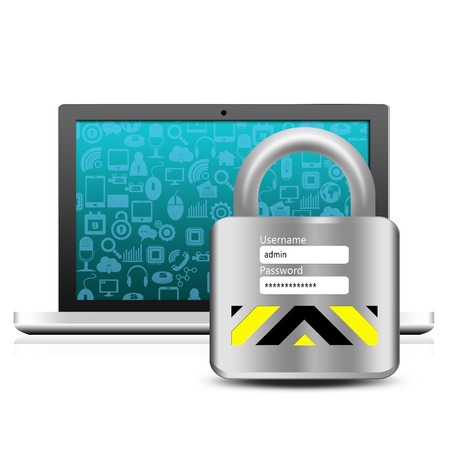 Social media with padlock on laptop photo