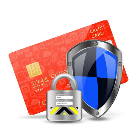 protection concept with padlock on creditcard Stock Photo