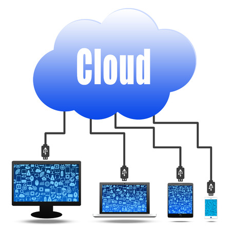 cloud computing concept with social photo