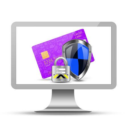 protection creditcard on desktop, desktop illustration Stock Photo