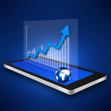 dimensionally: Business graph on smartphone,cell phone illustration