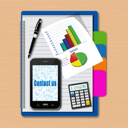 Smartphone with graphs and calculator on notebook,creative business,cell phone illustration