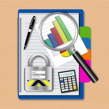 dimensionally: Magnifying glass with graph and padlock on notebook,creative business