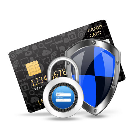 creditcard: protection concept with padlock on creditcard Stock Photo