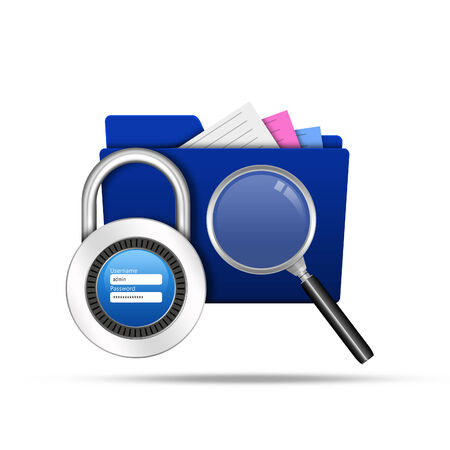 Search and lock folder with padlock username password photo